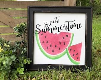 Watermelon sweet summertime sign, Sunner Sign, Watercolor summer sign, Canvas sign, Farmhouse summer decor, Sweet summertime, photo prop