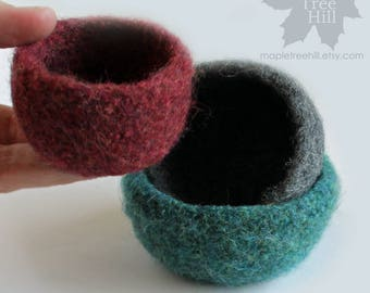 Wool Nesting Bowls / Heather Shades of Jade, Gray, Plum / Set of 3 in Gift Box - Ready to SHIP