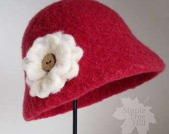 Toddler Hat / Red Wool Cloche with Buttoned Flower / Ready to SHIP