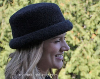 Black Bowler Hat / Felted Wool / Unisex Adult Size - READY to SHIP