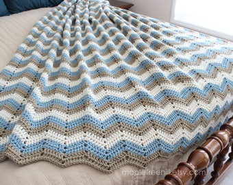 Afghan Blanket / 3 Color Chevron Design / Multiple Sizes & Shades / MADE to ORDER