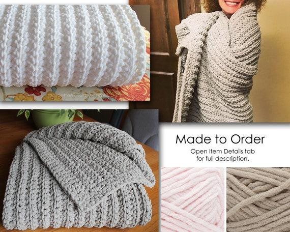 Crochet Chenille AfghanThrowBlanket Lap Blanket Gift