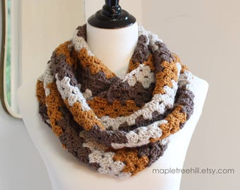 Infinity Loop Scarf in Diagonal Design of Fall Colors / Handmade - READY to SHIP