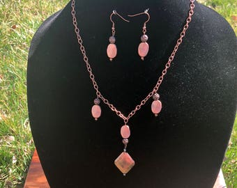 Copper Necklace – Necklace and Earring Set – Copper Earrings – Copper Necklace and Earring Set – Copper Jewelry