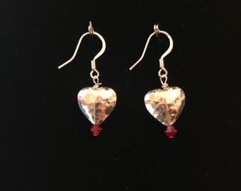 Silver Plated Red Heart Dangle Earrings - Swarovski Earrings - Valentine's Day Earrings - Heart Earrings - Red Earrings