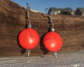 Coral and Silver Earrings, Coral Earrings, Dangle Earrings, Silver Earrings