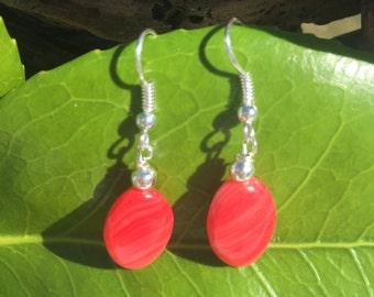 Red Earrings, Czech Glass Earrings, Dangle Earrings, Glass Earrings, Silver Beaded Drop Earrings, Valentine's Day, Vday Gift