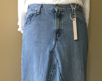 Upcycled Denim - Long Jean Skirt - Size 12M