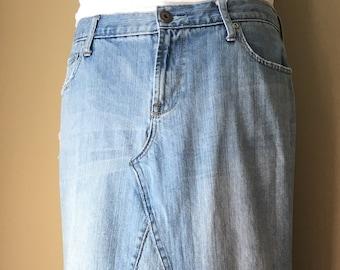 Upcycled Denim - Long Jean Skirt - Size 14