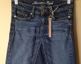 Upcycled Denim - Knee Length Jean Skirt - Size 0