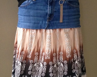 Upcycled Denim - Bohemian Style Jean Skirt - Size 12/14