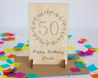 50th Birthday Card - Age Card - Personalised Card - 50 Birthday Card - 50th Birthday Gift - 50 Keepsake - Wooden Card - Card for Friend
