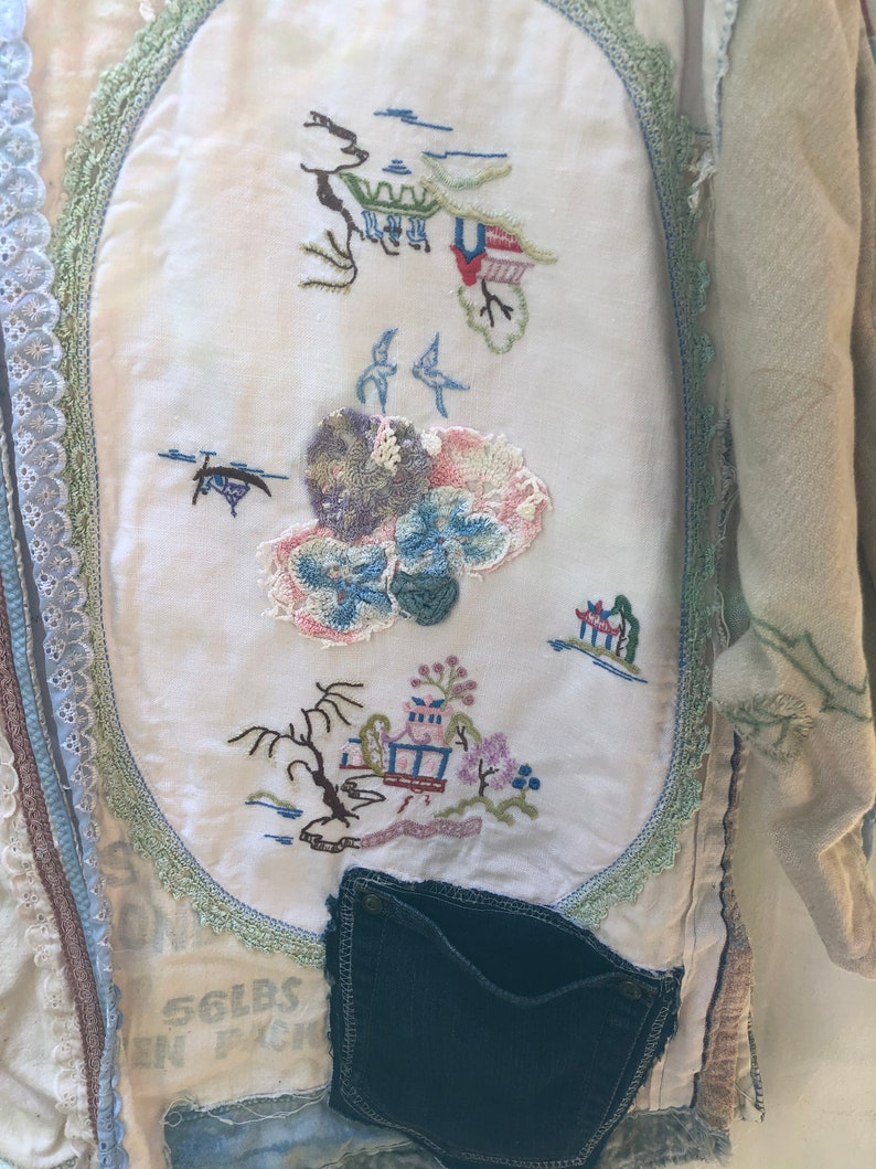 Upcycled Vintage Fabric Quilted Jacket Willow Pattern