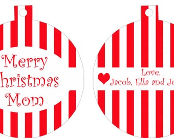 Any Name Custom Personalized Christmas Tree Ornament Red and White Candy Cane stripes I love you Mom Dad Love heart cute gift