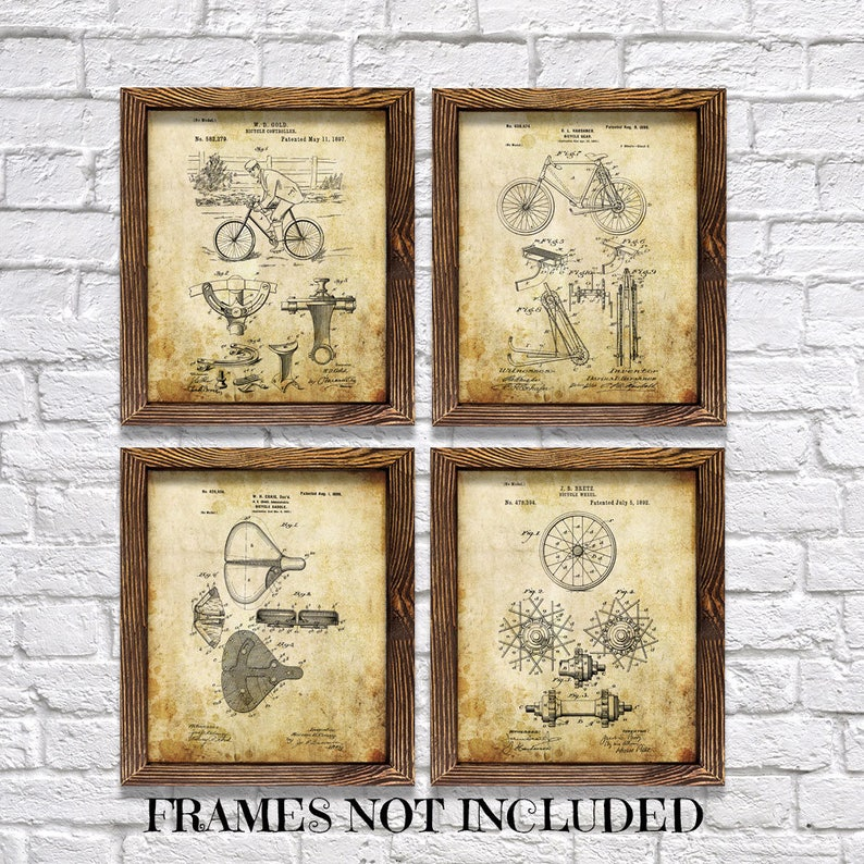 Wall Decor Bicycle Themed Patents Set Of Four Etsy