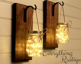 Mason Jar Wall Decor, Mason Jar Decor, Mason Jar Lanterns, Rustic Mason Jar, Wall Sconces,  Shabby Chic, Rustic Decor, Set of 2
