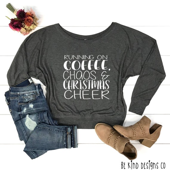 a6cfb3a75459 Running On Coffee Chaos   Christmas Cheer Bella Canvas Long