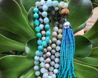 Amazonite, Riverstone Gemstone Knotted Mala Beads with Blue-Green Seed Bead Tassel Fringe