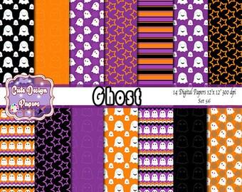 Ghost digital papers 12x12, halloween, purple ghost, black ghost, orange ghost, halloween party, ghost party, scrapbook