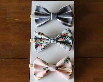 Bow Hair Clip - Bow Headband - Baby Bow - Floral Baby Bow - Toddler Bow
