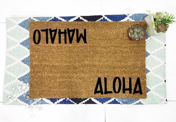 Summer doormat Aloha doormat Mahalo Doormat Hawaiian Doormat by BeaWOODtiful