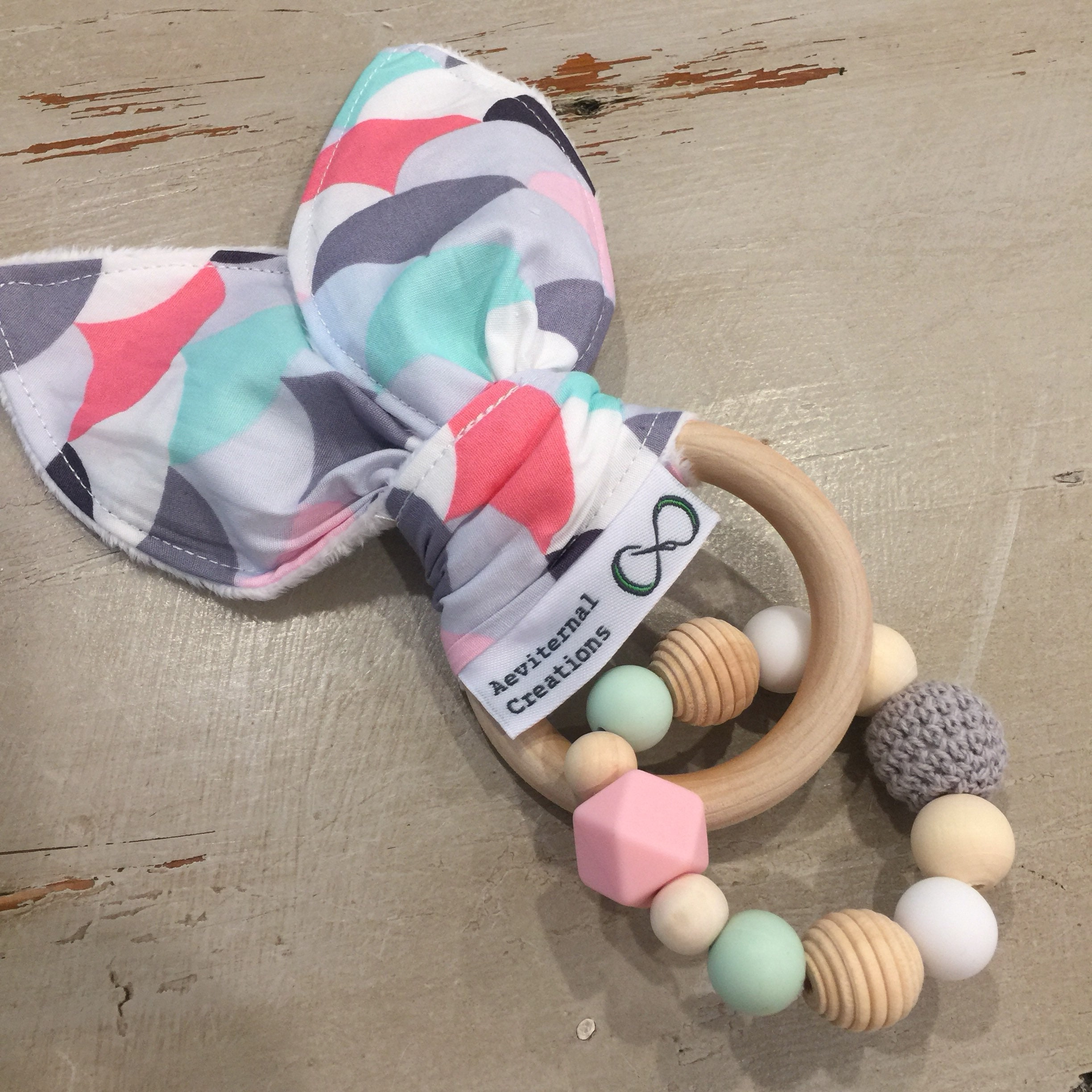 Teether Large Natural Wood Silicone Bunny Ears Teething Ring Natural Teether