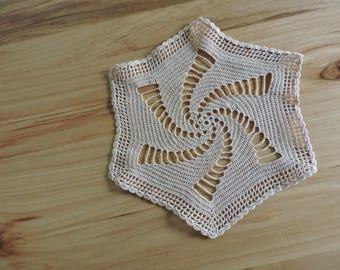Vintage Doily, Antique Doily, Hand-Crocheted Doily, Vintage Crochet, Hexagon-Shaped Beige Doily
