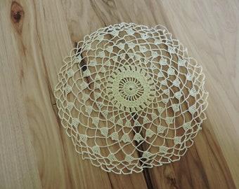 Vintage Yellow Doily, Vintage Round Hand-crocheted Doily, Vintage Crocheted Doily