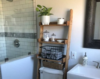 Over The Toilet Leaning Ladder Shelf Made To Order Decor