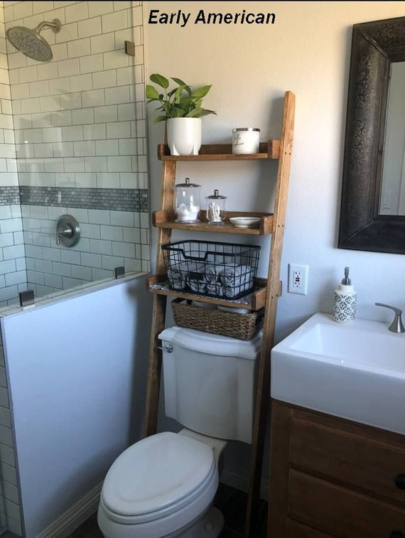 Over The Toilet Leaning Ladder Shelf Made To Order Decor Etsy