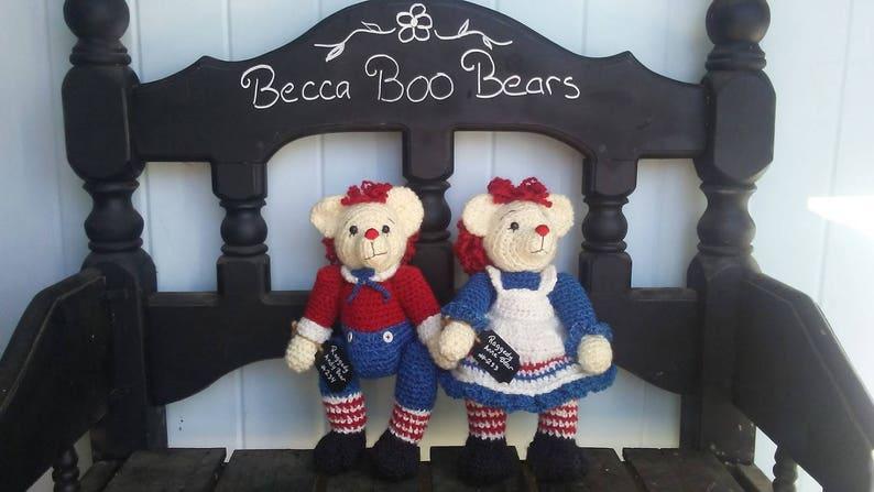Raggedy Set Keepsake Teddy Bears Made to Order