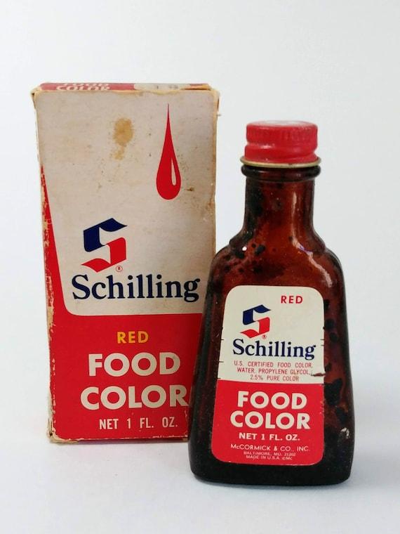Antique McCormick Schilling red food coloring 1 oz. -food  advertising-McCormick Schilling antique box-vintagekitchen food