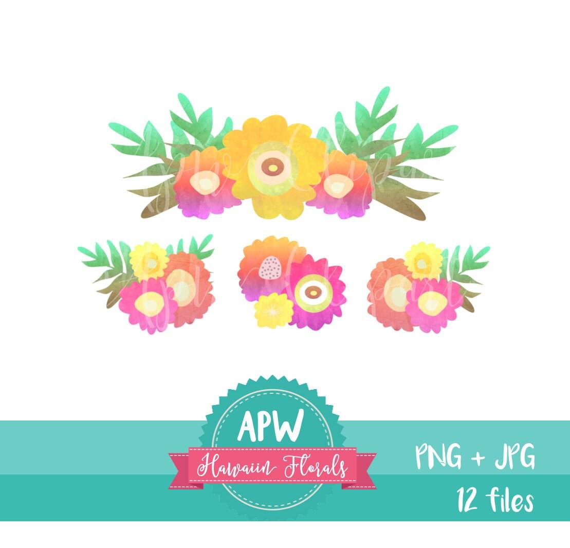 Hawaiian flowers clipart hawaii florals pink yellow flowers etsy zoom izmirmasajfo