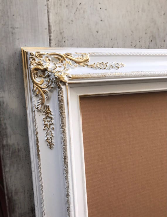 10x12 Picture Frame White And Gold Shabby Chic French Etsy