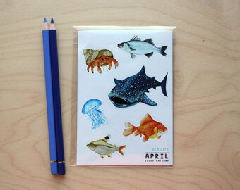 Under the Sea - Illustrated Vinyl Stickers - A6 - Ocean - Marine life