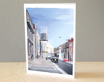 Hope Street - Illustrated Liverpool Greeting / Christmas Card - A5 recycled card