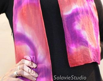 Peach and Purple silk scarf