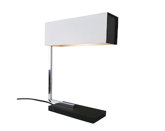 Black and white desk light with adjustable perforated shade, 1970s