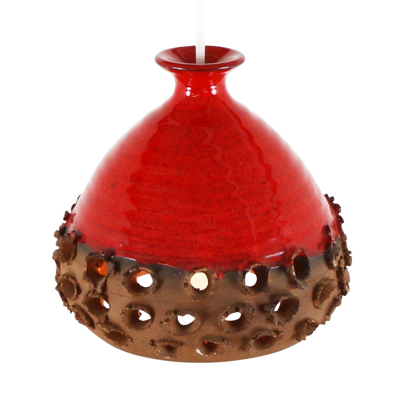 Lampada a ciondolo in ceramica arancio /rosso forata anni