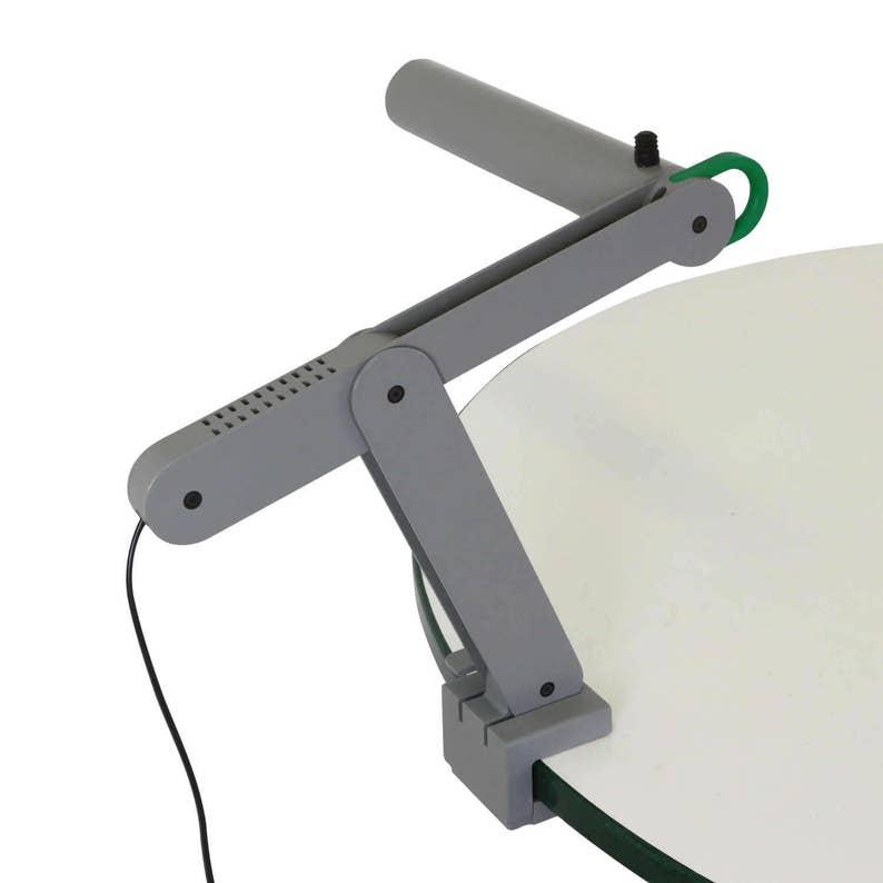 Quality grey metal Memphis style clamp desk light 1980s