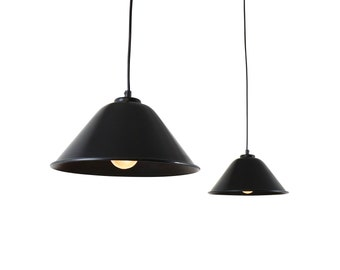 Pair of black metal pendant lights with white inner reflector, 1960s