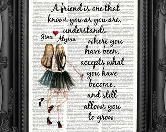 CHRISTMAS Best Friend Gift for Best Friend Birthday Gift Best Friend Quote print Gift Best Friend Maid of Honor Gift Personalized Friend 205