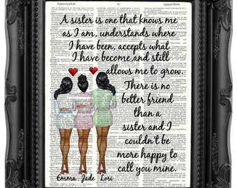 Sister Gift Christmas Personalized From For Birthday Quote Art Print 260
