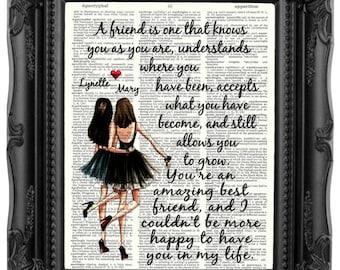 Personalized Best Friend Gift For Brunette Friends Friendship Quote Besties Birthday Bestie 175