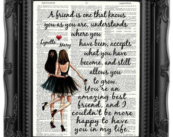 Best Friend BIRTHDAY Gift For BESTIES Bestie Friendship Quote Print Anniversary Girlfriend 175