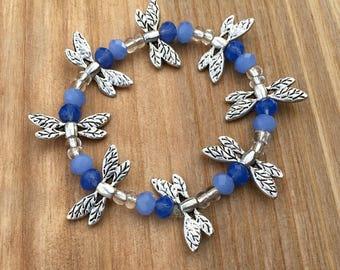 Blue Dragonfly Beaded Bracelet