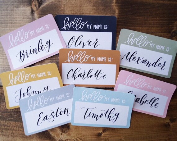 Hallo Mein Name Ist Aufkleber Custom Handlettered Kalligrafie Neuborn Sticker Baby Announcement Baby Namensaufkleber Neugeborene Foto Requisiten
