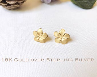 5abc93d9a Gold over Sterling Silver, Plumeria stud earrings, Plumeria earring,  Plumeria studs, Gold Plumeria, Rose Gold Plumeria, Flower earring