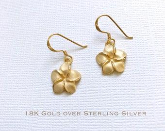 9d89f5178 18K Gold over Sterling Silver plumeria dangle earrings