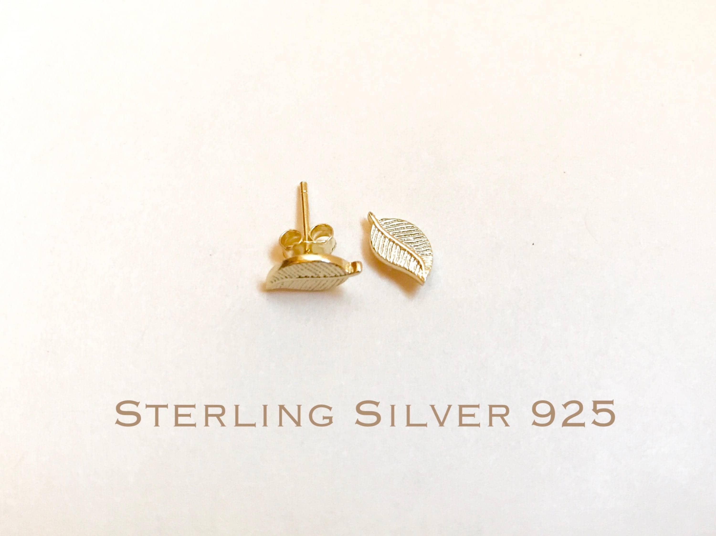 73ae4d808 14k Gold over Sterling Silver leaves stud earrings leaves | Etsy